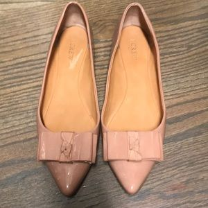 JCrew Nude flats with bow size 10